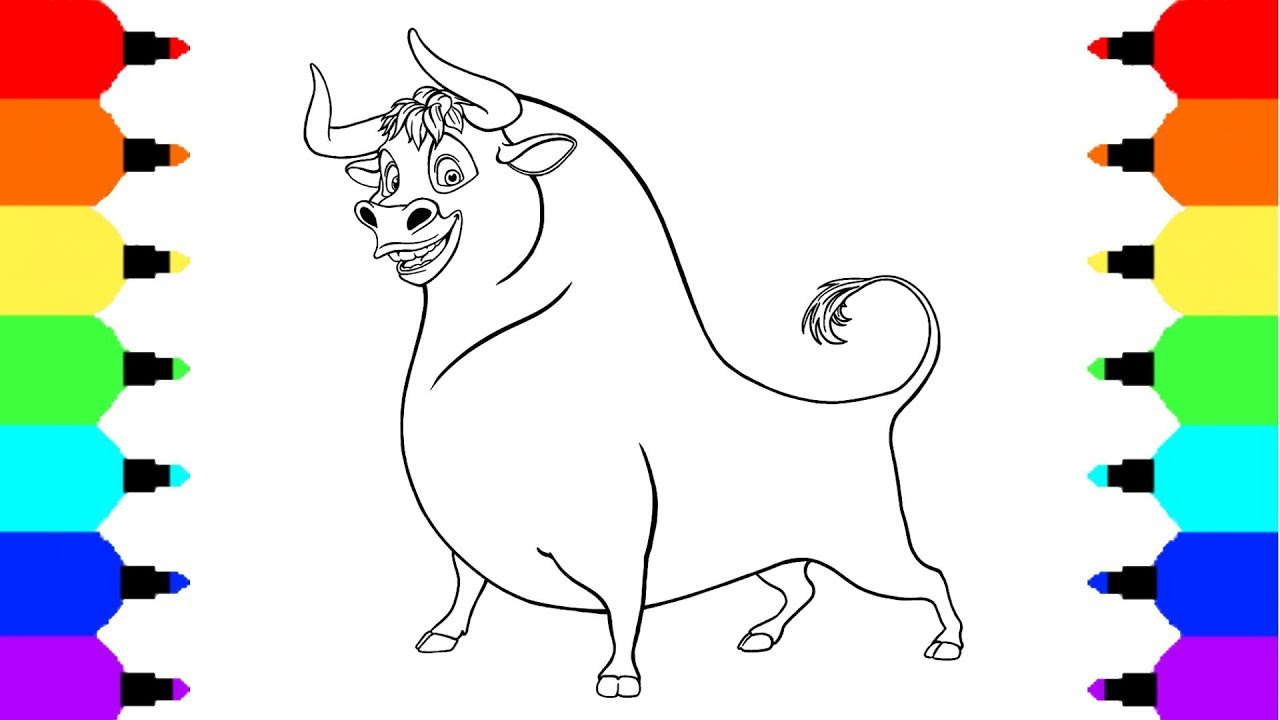 how to draw ferdinand the bull coloring pages drawing and