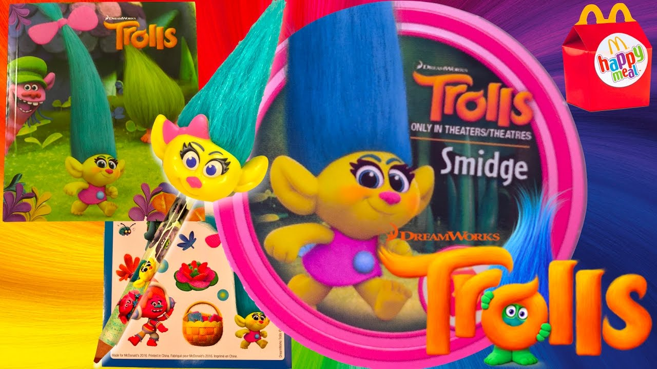 McDonald/'s Trolls Poppy Branch Smidge DJ Toy Heads Figures Mcdonalds 2016 4 toys