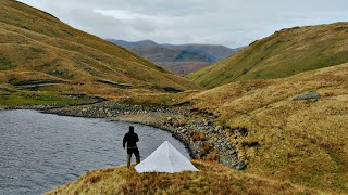 SOLO WILD CAMPING IN THE MOUNTAINS - FIRE BY A LAKE
