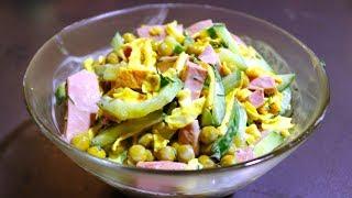 Быстрый и вкусный салат с жаренным яйцом. Всем нравится
