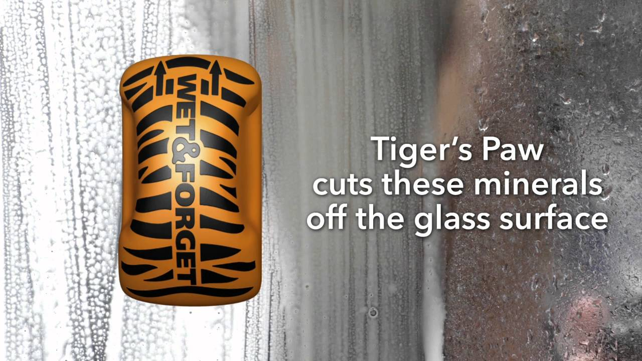 Tigers Paw Targets Calcium Deposits On Shower Doors Youtube