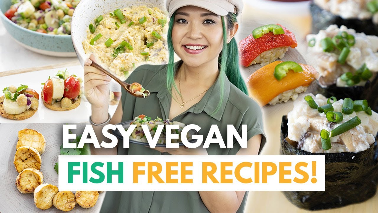5 LAZY VEGAN FISH-FREE RECIPES! (Easy Sushi, Ceviche, Vegan Tuna, Scallops)