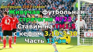 Футбольная стратегия №22. Ставим на ТМ1,5 с кефом 3.10-3.30. Часть 13-ая.