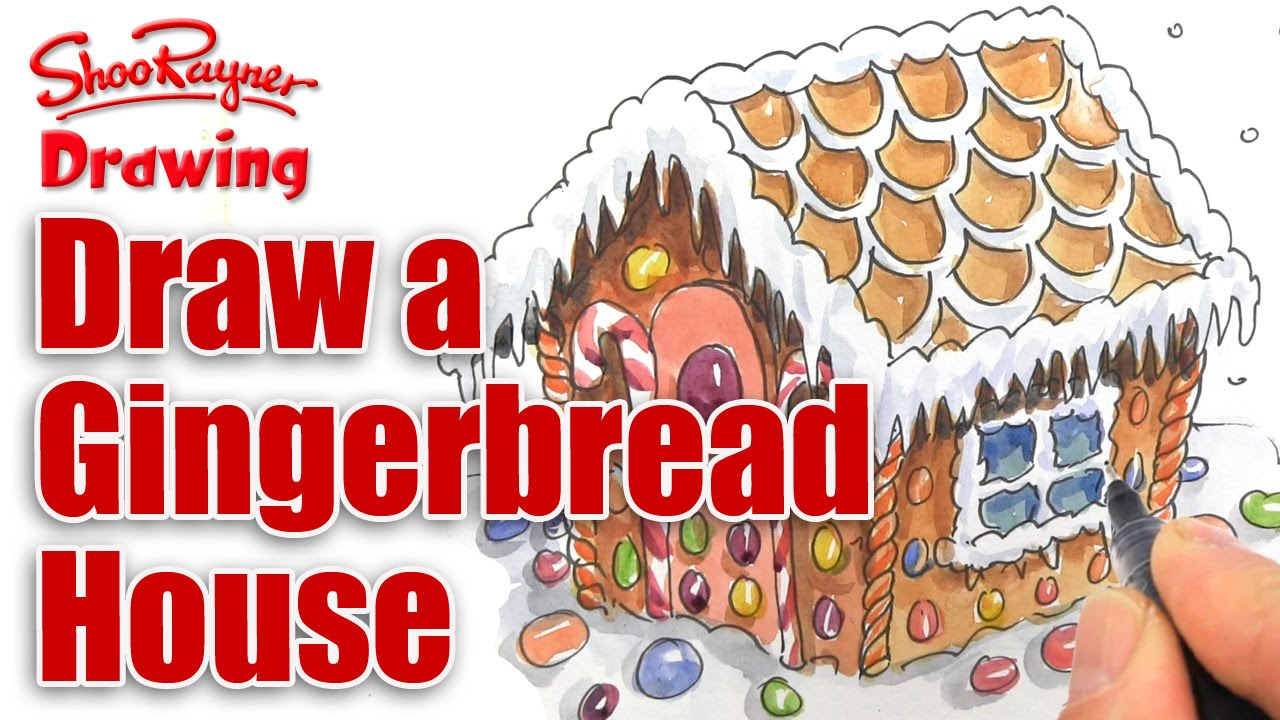 Christmas Gingerbread House Drawing.How To Draw A Gingerbread House For Christmas