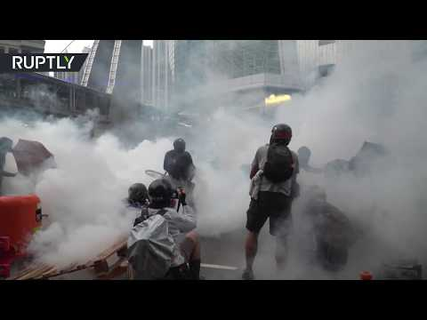 Clashes between protesters and riot police continue in Hong Kong as protests enter 12th week