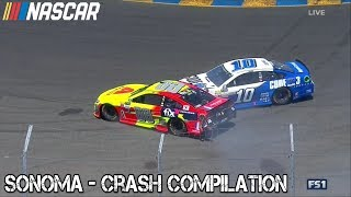Nascar - 2017 - Sonoma - Crash Compilation