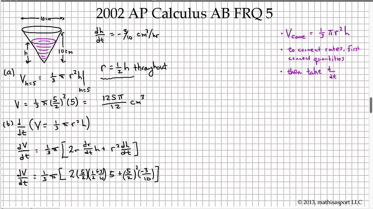 2002 AP Calculus AB FRQ 2 - YouTube