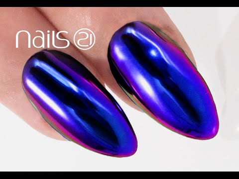MIRROR MIDNIGHT BLUE NAILS Step by Step - Nails 21 - YouTube