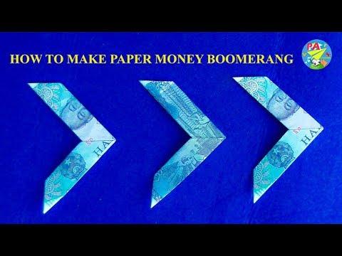 Money Origami Hướng dẫn gấp boomerang bằng tiền giấy