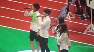 [FANCAM] 160829 VIXX Ken, GOT7 Youngjae, EXID Solji & TWICE Jihyo singing the open ceremony @ ISAC
