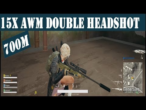 Suppressed AWM 15x Scope 700m Double Headshot - PUBG (Squad)