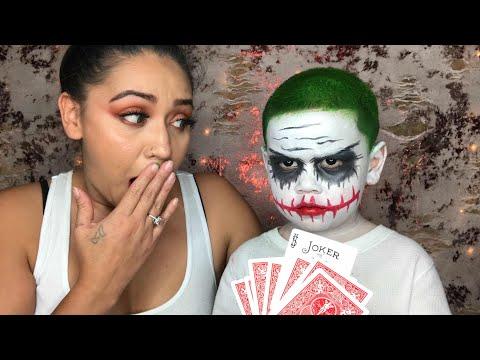 Joker face Halloween tutorial   with my nephew