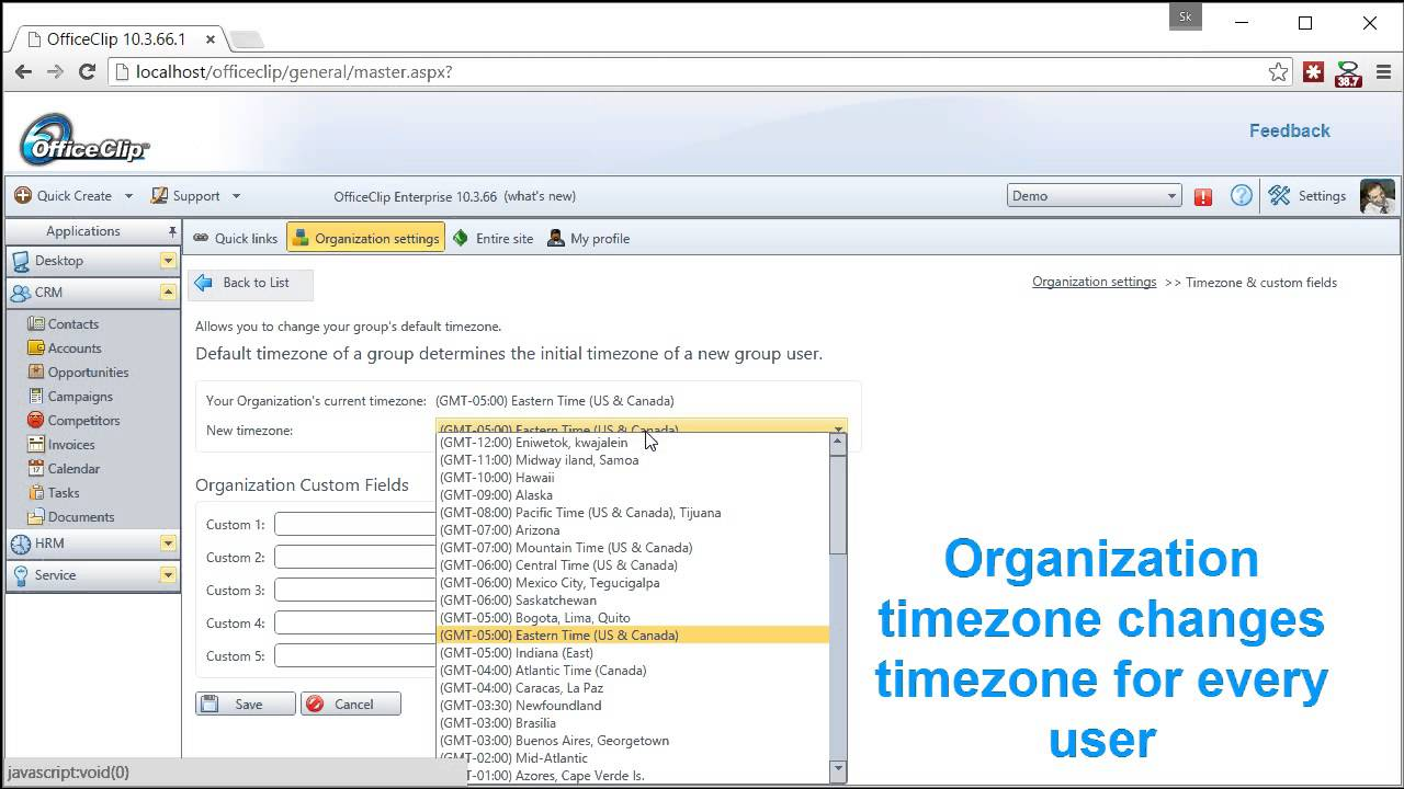 Tips on how to change Timezone in OfficeClip
