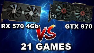 Скачать RX 570 4Gb Vs GTX 970 21 Games 1080p Ultra 2019