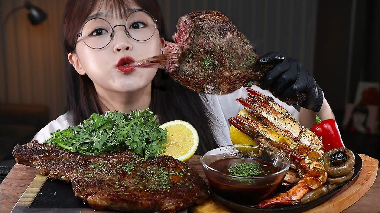 고기는 뜯어야 제맛! 토마호크 스테이크 먹방🥩🦐ft.새우버터구이 TOMAHAWK STEAK & GRILLED SHRIMP MUKBANG   EATING SOUNDS