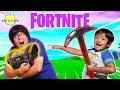 RYAN VS DADDY IN FORTNITE BATTLE! Let's Play Fortnite with VTubers Ryan from Ryan's World