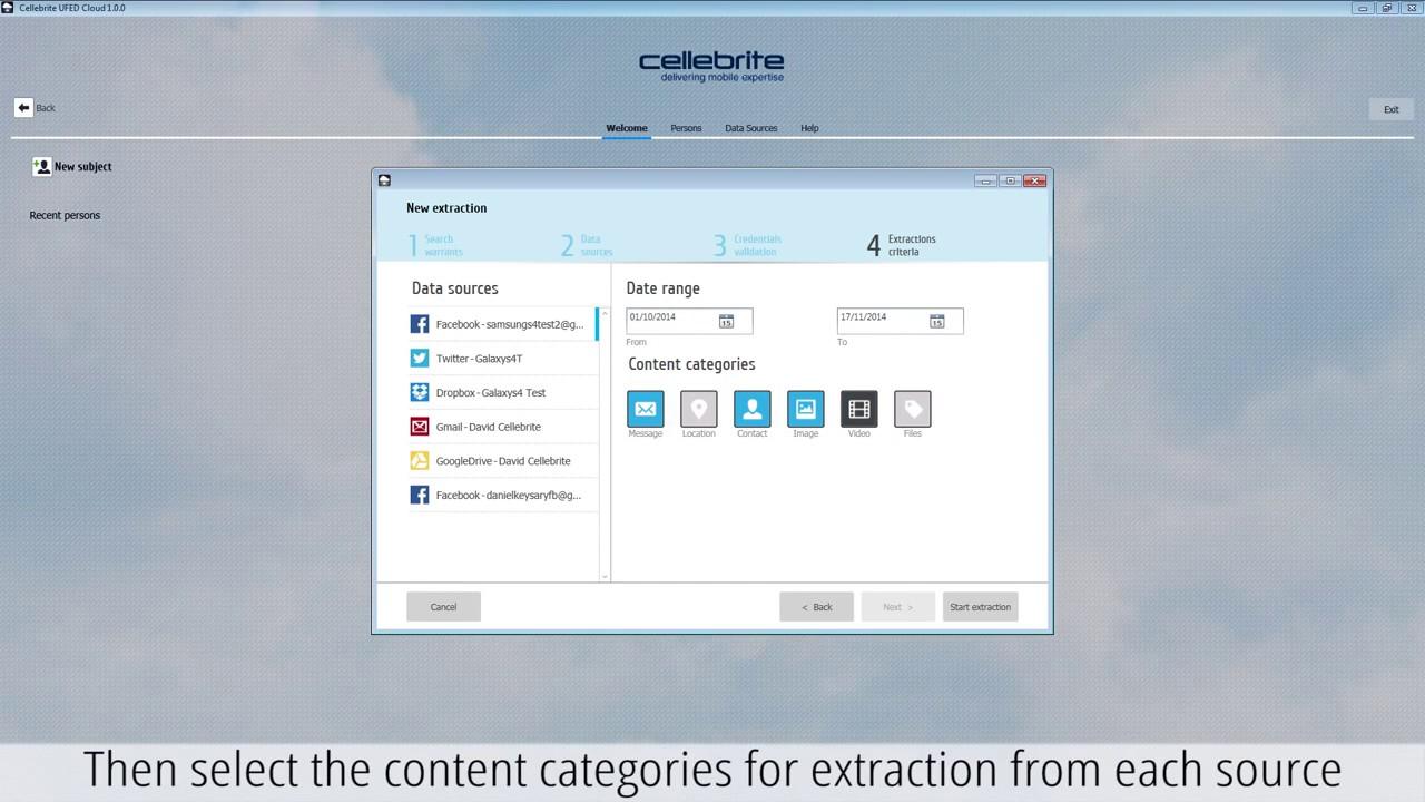Cloud data extraction - UFED Cloud Analyzer