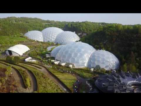 Drone footage of Eden Classic cycling event at the Eden Project