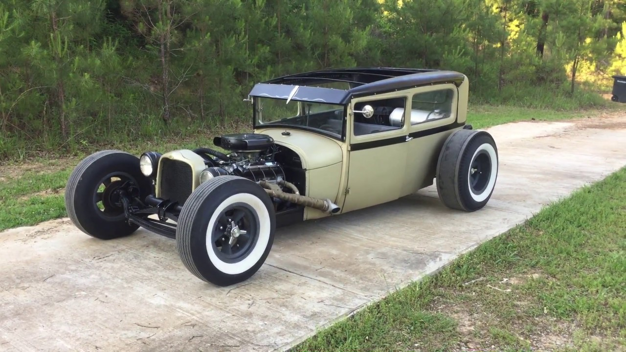 1929 FORD MODEL A TUDOR SEDAN CHOPPED HOT ROD RAT ROD FOR SALE - YouTube