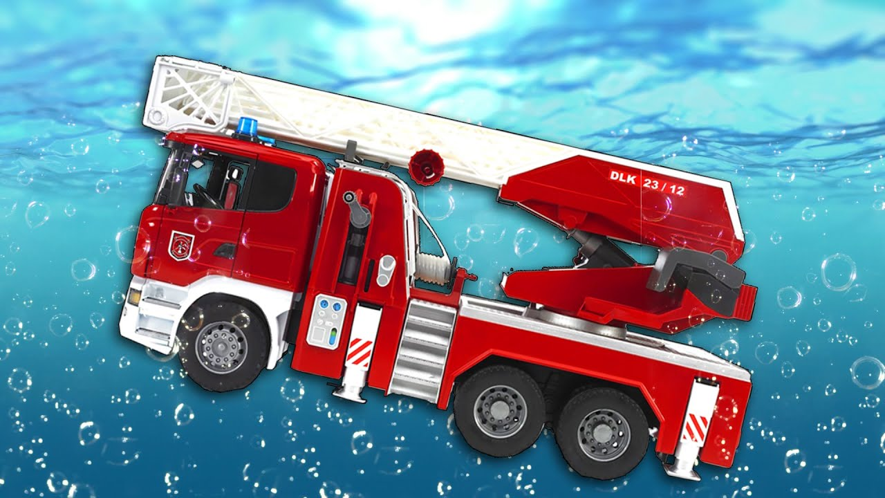 Toy cars dive in water. MANY LARGE TOY CARS. For fun ...