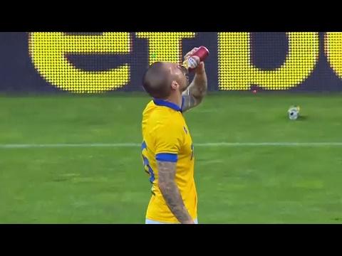 Bulgarian football player swigs beer before scoring last minute equaliser