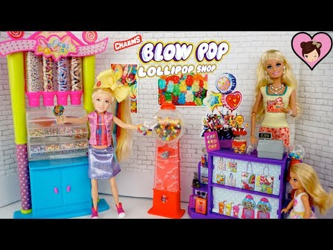 Jojo Siwa Doll in Barbie Candy Shop Toy –  Blow Pop Lolipop Shop Review
