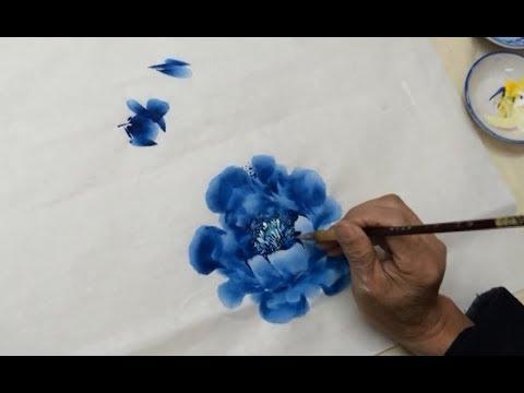 Chinese Blue Peony Painting