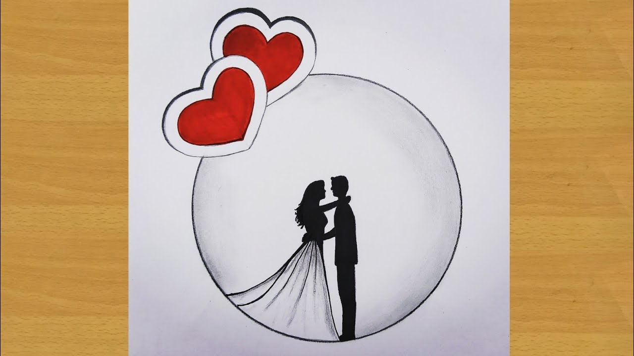 Easy way to draw couple shadow drawing in circle with two heart   Gali Gali Art   