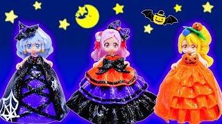 リカちゃん HUGっとプリキュア❤ハロウィンのドレスを粘土で手作り⭐オバケとカボチャのハロウィンパーティー♪おもちゃ 人形 アニメ