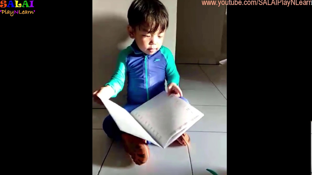 Toddler Learning Video Salai Reads Book In Swimming Costume 2 3