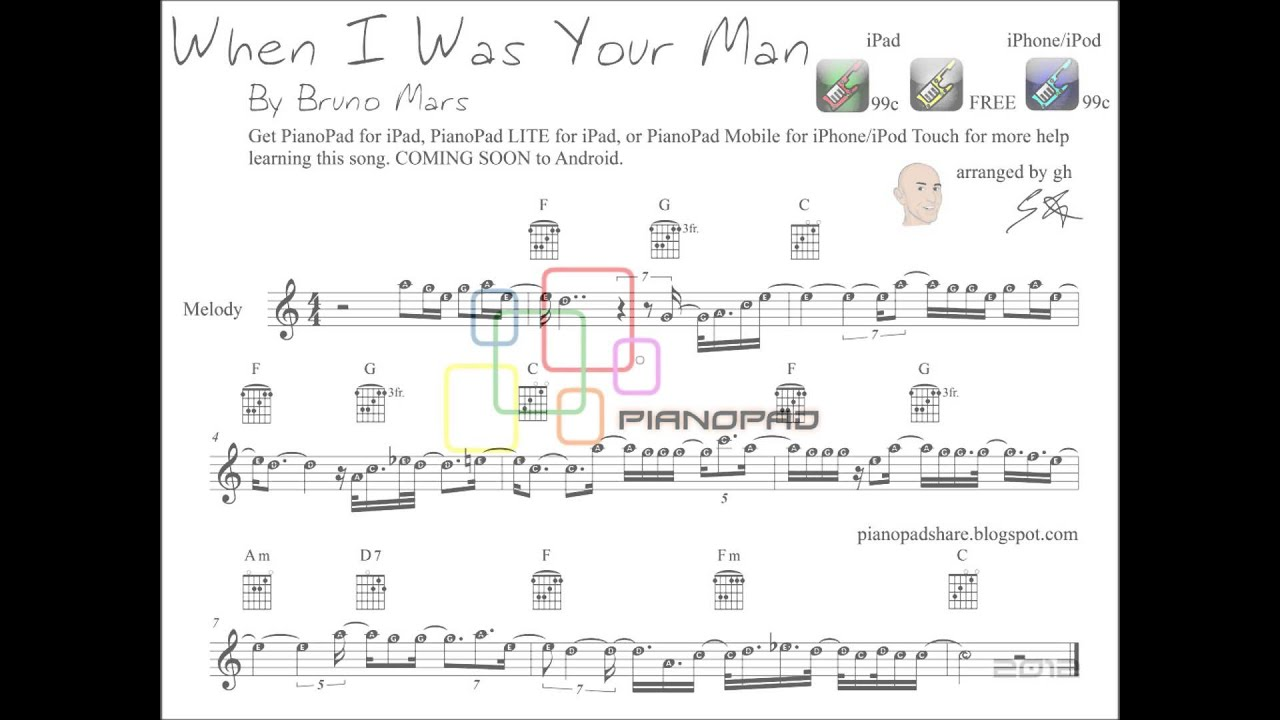 Bruno Mars - When I Was Your Man - SHEET MUSIC & Tutorial
