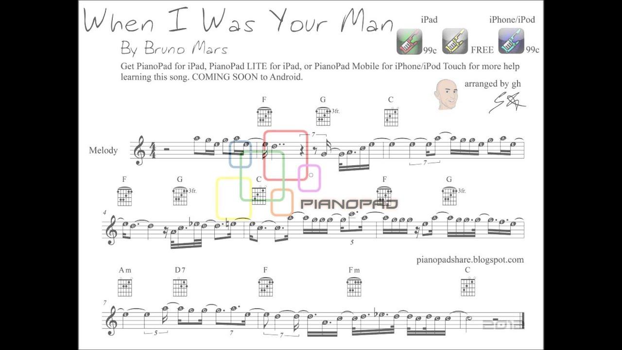 Bruno mars when i was your man sheet music tutorial youtube hexwebz Choice Image