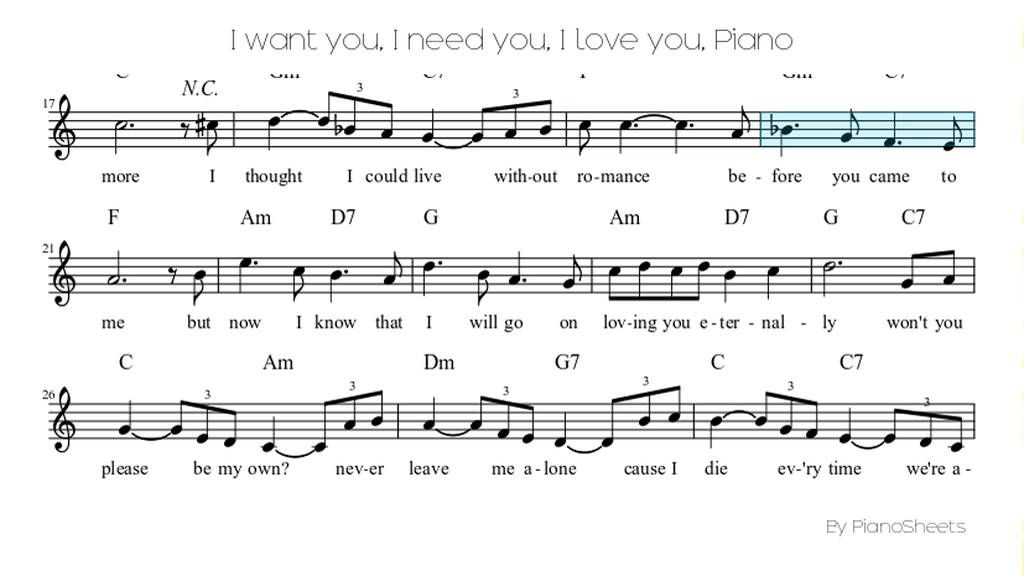 I want you, I need you, I love you [Piano Solo] - YouTube