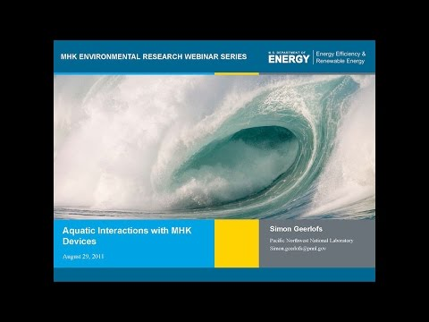 DOE MHK Webinar Series #2: Aquatic Animal Interaction with Marine and Hydrokinetic Devices