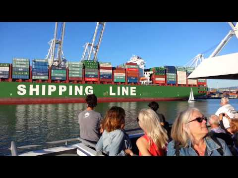 Ferry Ride View Eastbound. Container Ship x 1. Port of Oakland. CSCL Spring China Shipping Line.