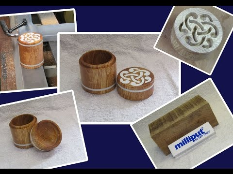 small spalted beech trinket box, with a celtic knot Milliput insert