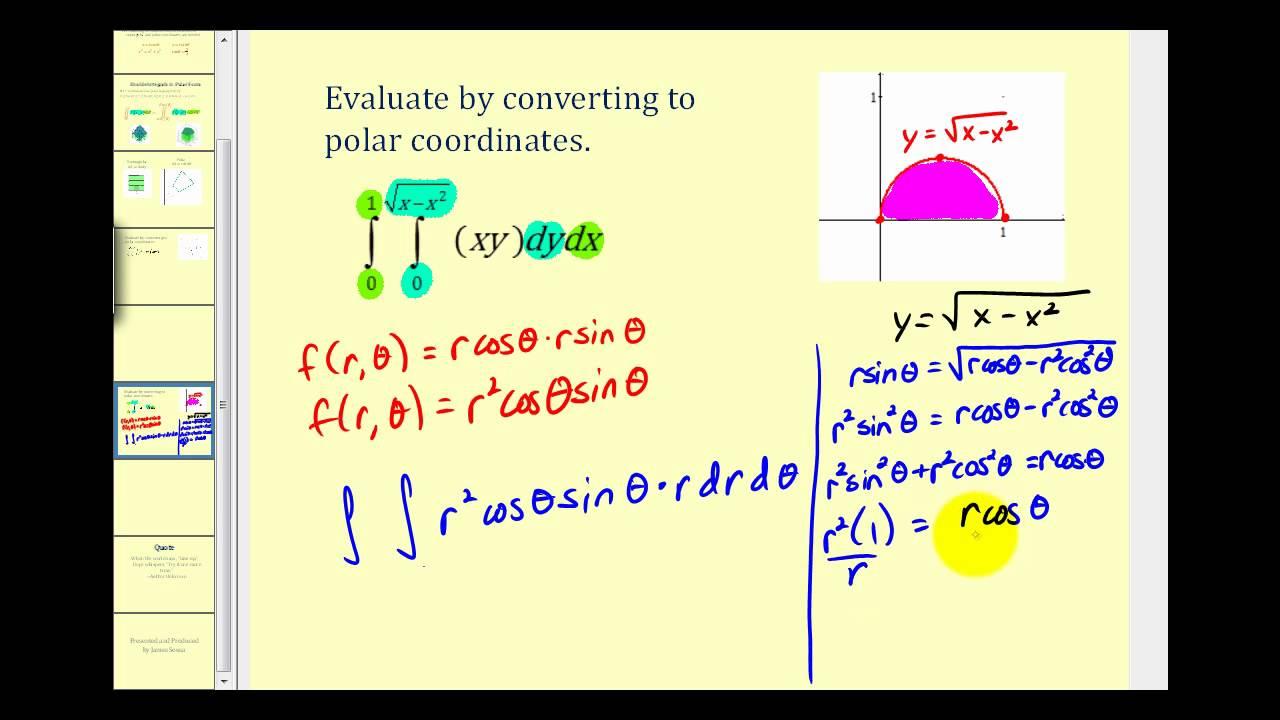 Double Integrals in Polar Coordinates - Example 2 - YouTube