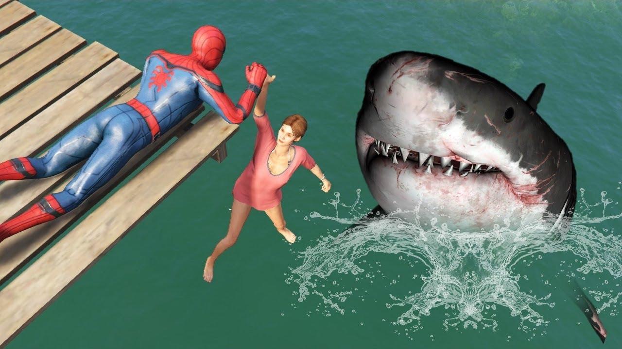 GTA 5 Epic Ragdolls | SHARK vs SPIDERMAN Jumps/Fails ep.125 (Funny Moments)