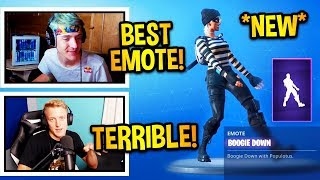 "STREAMERS UNLOCK *NEW* ""BOOGIE DOWN"" EMOTE/DANCE! *LEGENDARY* Fortnite Moments"