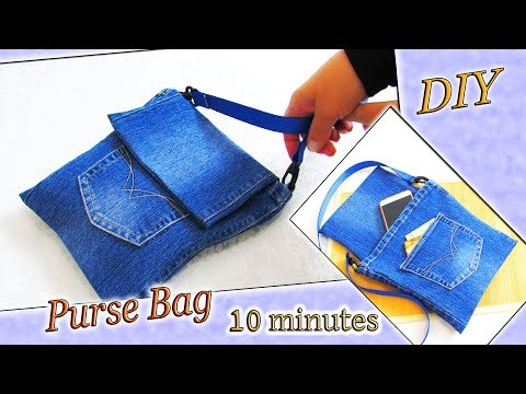 DIY Jeans Purse Bag Recycling - How To Make Cute Bag From Old Denim - Old Jeans Crafts Idea