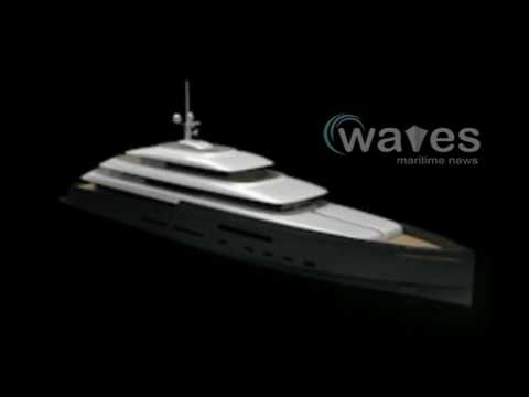 Dionea goes thru a conversion into a luxury motor yacht in Genoa.
