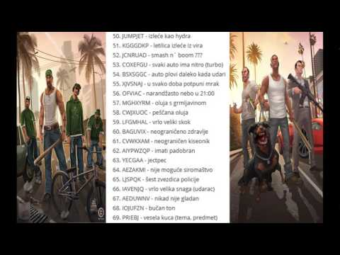 CODES FOR GTA SAN ANDREAS !! (ŠIFRE ZA GTA SAN ANDREAS)