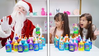 TWIN TELEPATHY SLIME CHALLENGE with Santa!