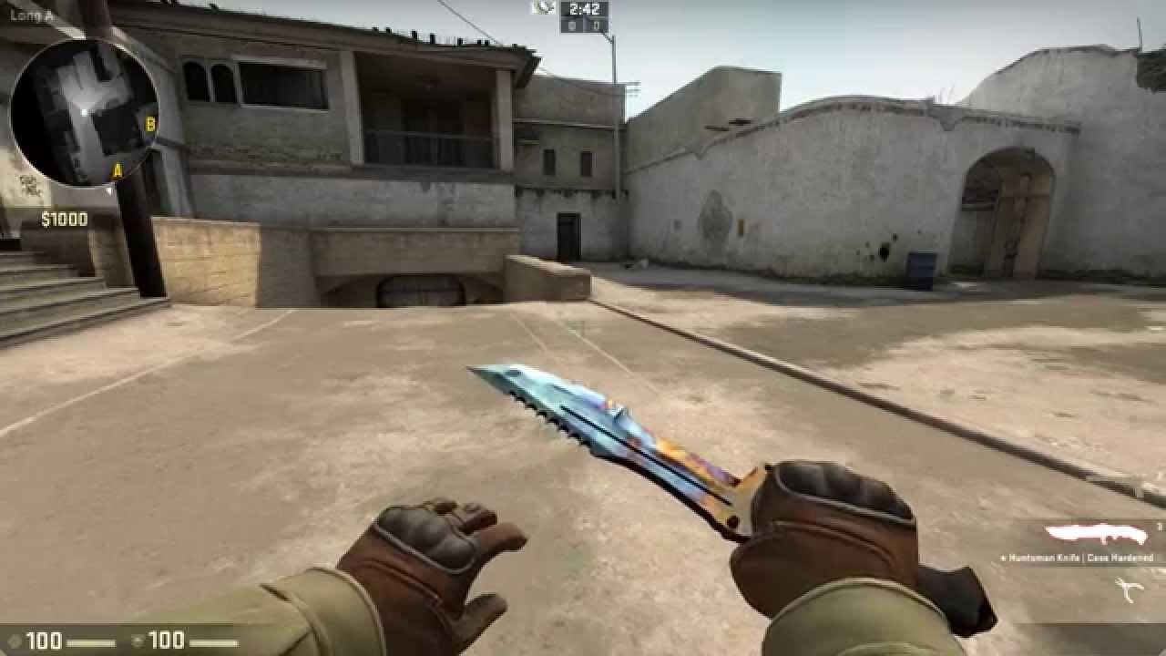 cs go huntsman knife case hardened pretty blue blue gem