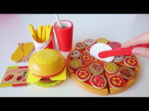 Toy cutting pizza hamburger learn names of fruits vegetables learn to count numbers