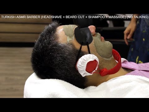 TURKISH ASMR BARBER (BEARD CUT + SHAMPOO + MASSAGE) NO TALKİNG 2017