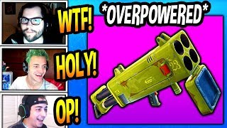 STREAMERS *FIRST TIME* USING *NEW* QUAD ROCKET LAUNCHER! (OVERPOWERED!) Fortnite Funny Moments