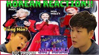 [2017 MAMA] Erik + Đức Phúc + Hòa Minzy - Mashup Cùng đành thôi + Y.Ê.U | Korean React