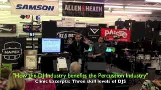 "Sam Ash drum clinic with John Donovan ""How the DJ Industry benefits the Percussion Industry"""