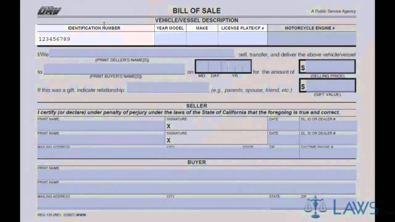 Bill Of Sale   YouTube  Private Owner Car Sale Contract